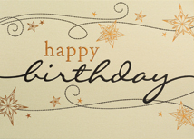 Gold Linen Wishes Happy Birthday Card